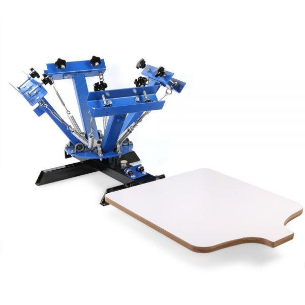 Kézi szitanyomó gép, textilnyomó karusszel, 4 szín, 1 asztal