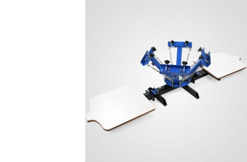 Kézi szitanyomó gép, textilnyomó karusszel, 4 szín, 2 asztal